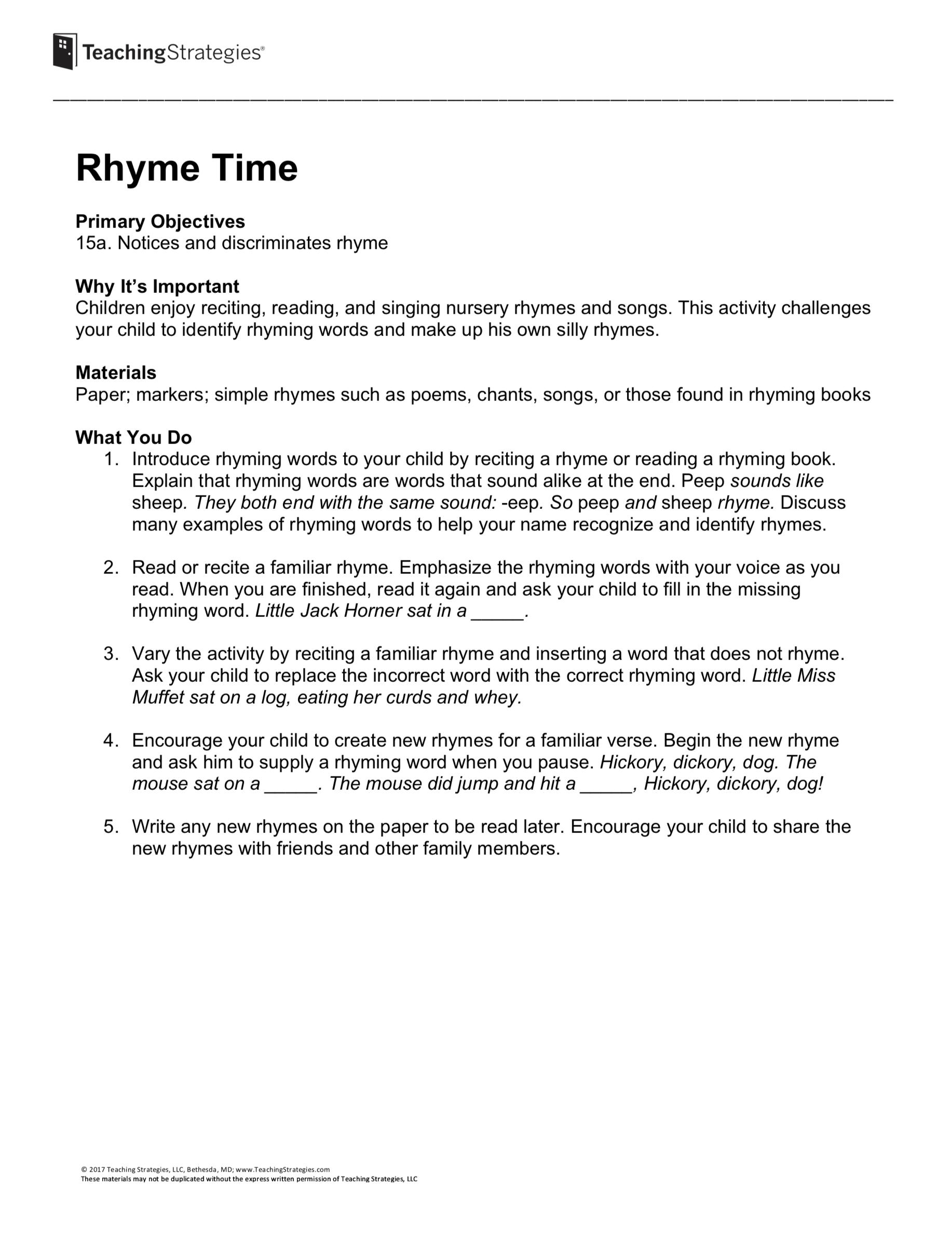 Rhyme Time Preschool Resource