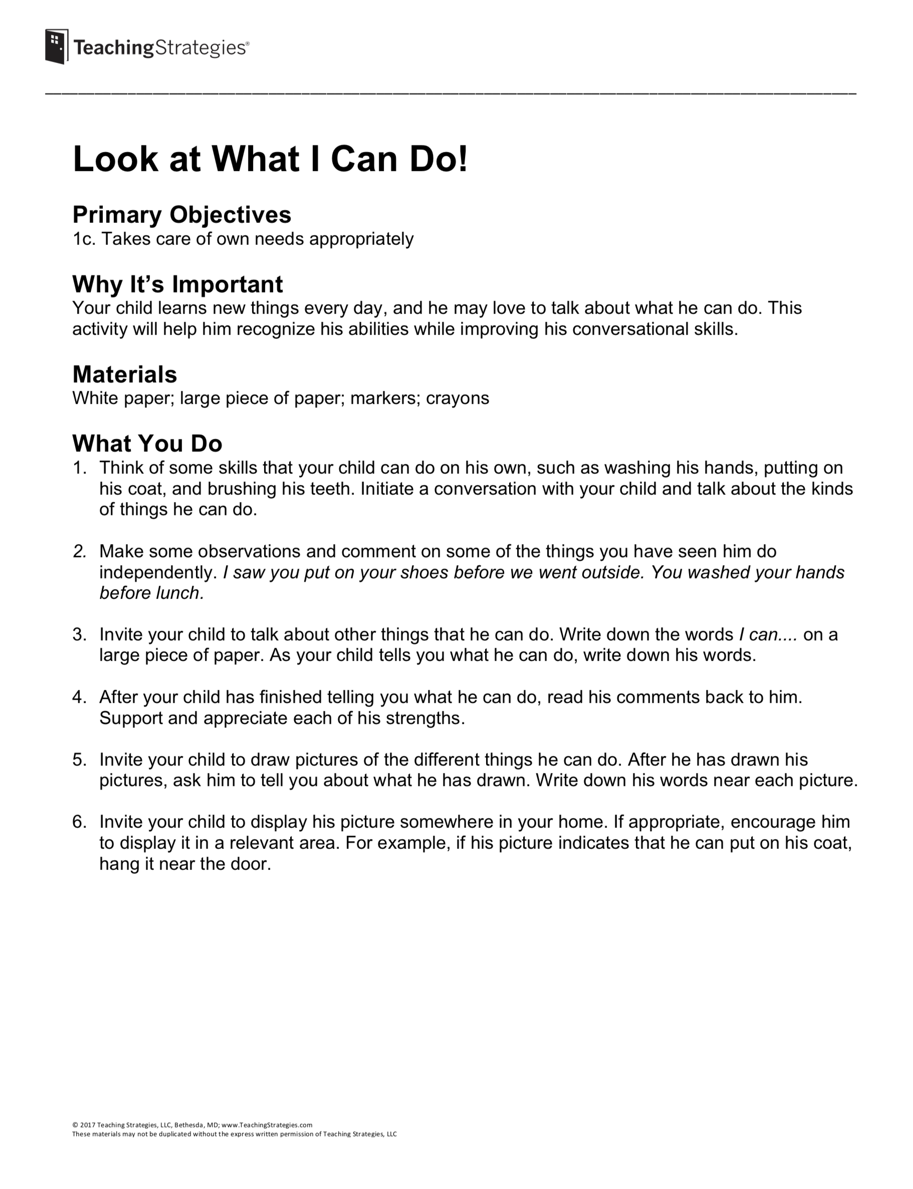 Look at What I Can Do! - Preschool Resource