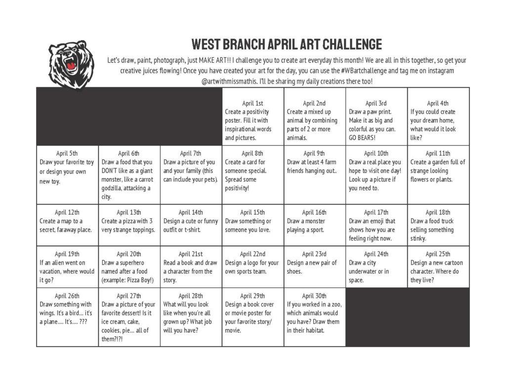 West Branch April Art Challenge