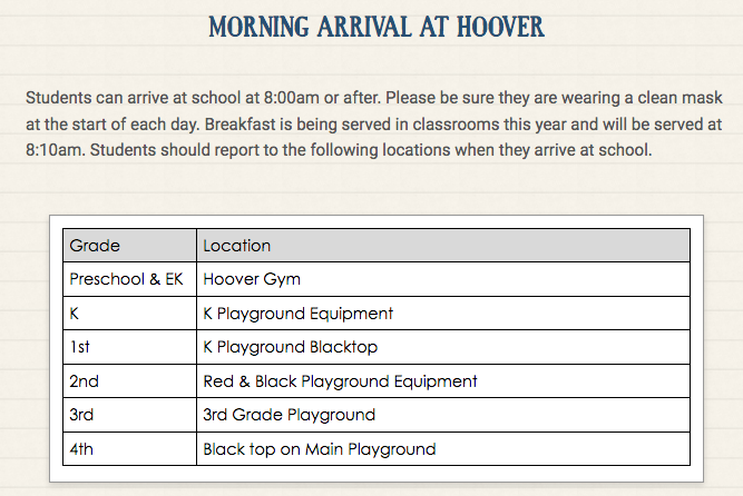 West Branch Elementary Morning arrival Schedule