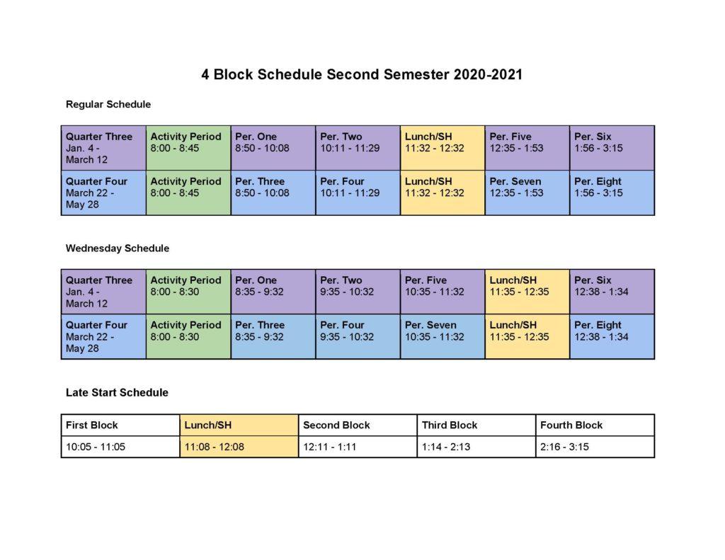 HS 2nd Sem. Schedule 2020-2021